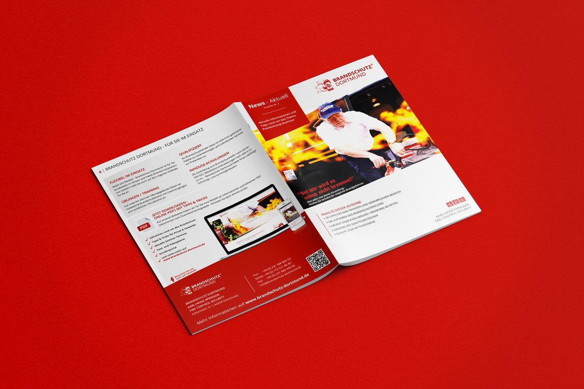 mediadesign linke portfolio - Gestaltung eines Newsletters / Din A4 Broschüre für Brandschutz Dortmund