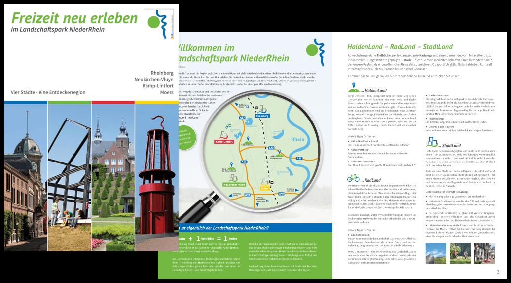 Gestaltung Titel der Imagebroschüre Landschaftspark Niederrhein, 12-seitig im A4-Format - Freizeit neu erleben im Landschaftspark Niederrhein Rheinberg, Neukirchen-Vluyn, Kamp-Lintfort und Moers - Vier Städte - eine Entdeckerregion