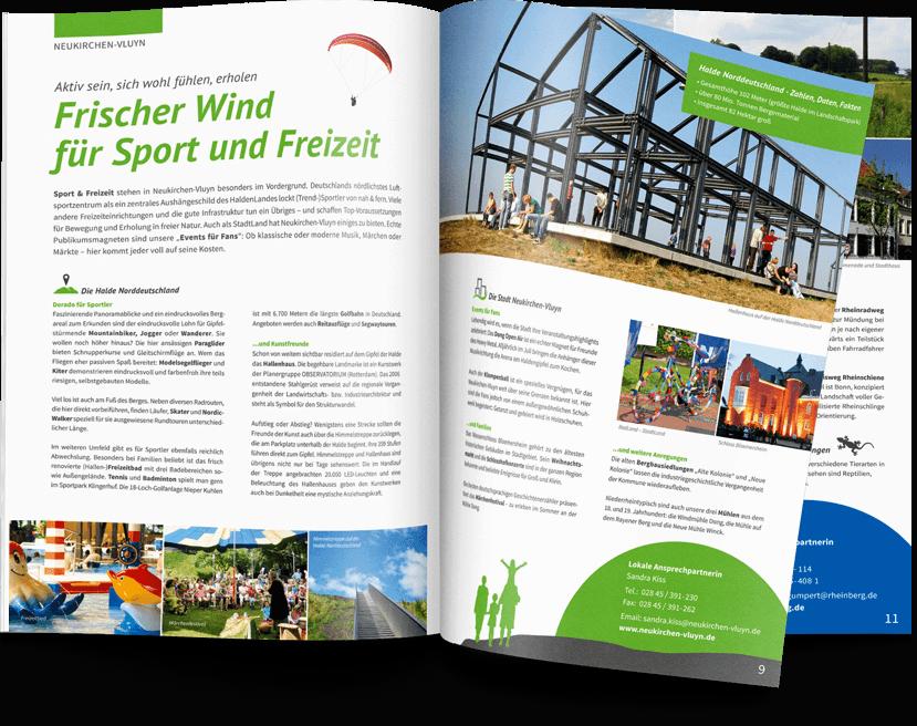 Gestaltung und Design einer Imagebroschüre für den  Landschaftspark Niederrhein, 12-seitig im A4-Format sowie Ansicht der Innenseiten dieser