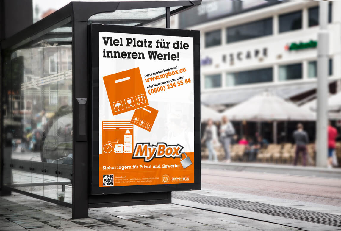 mediadesign linke MyBox Bochum Plakat Design für eine Bushaltestelle