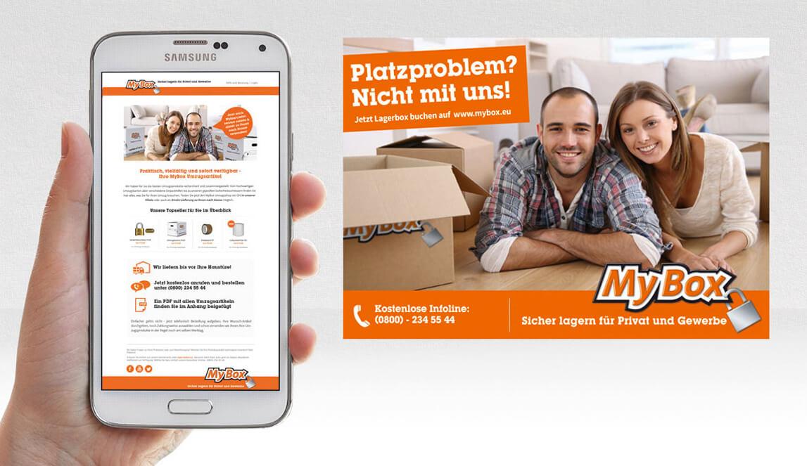 mediadesign linke Portfolio MyBox Bochum Plakat Design und Ansicht eines Smartphones mit MyBox Bochum Newsletter im Display