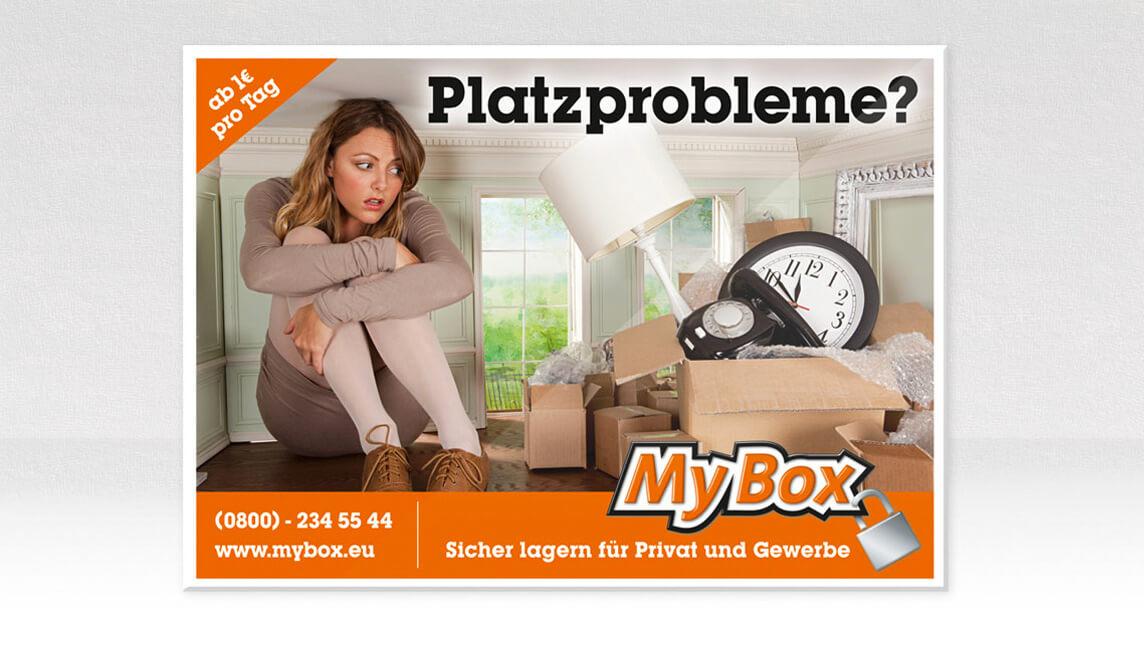 mediadesign linke Gestaltung und Design eines Megalightplakates Plakates für MyBox GmbH Bochum