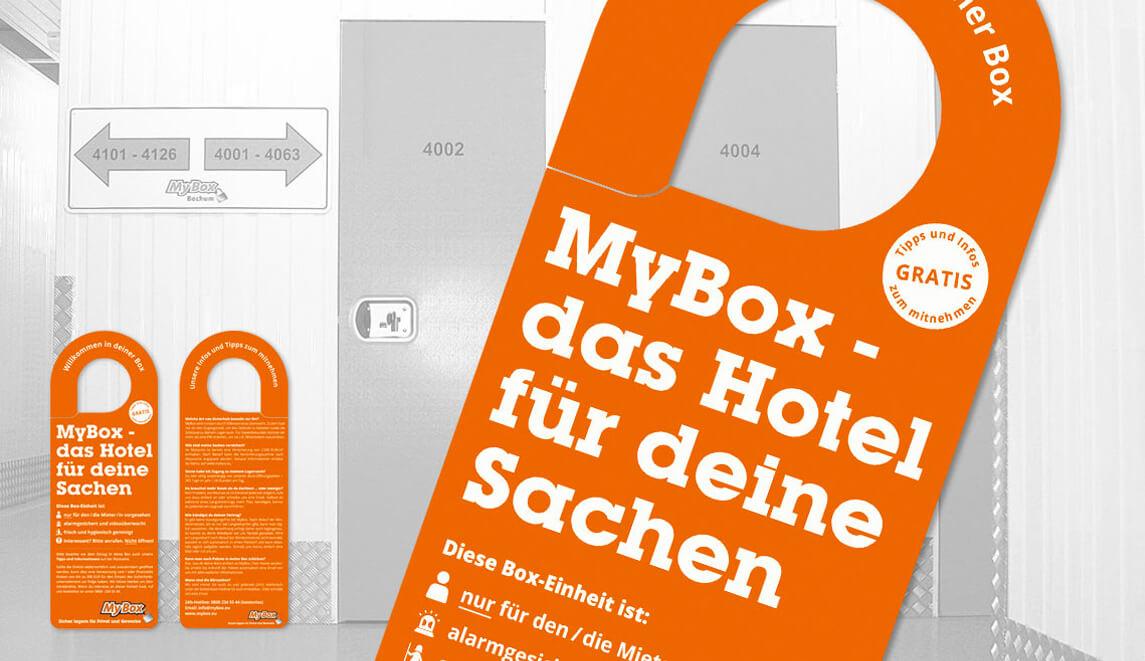 mediadesign linke - MyBox Bochum - Umsetzung von Türanhängern / Türschilder