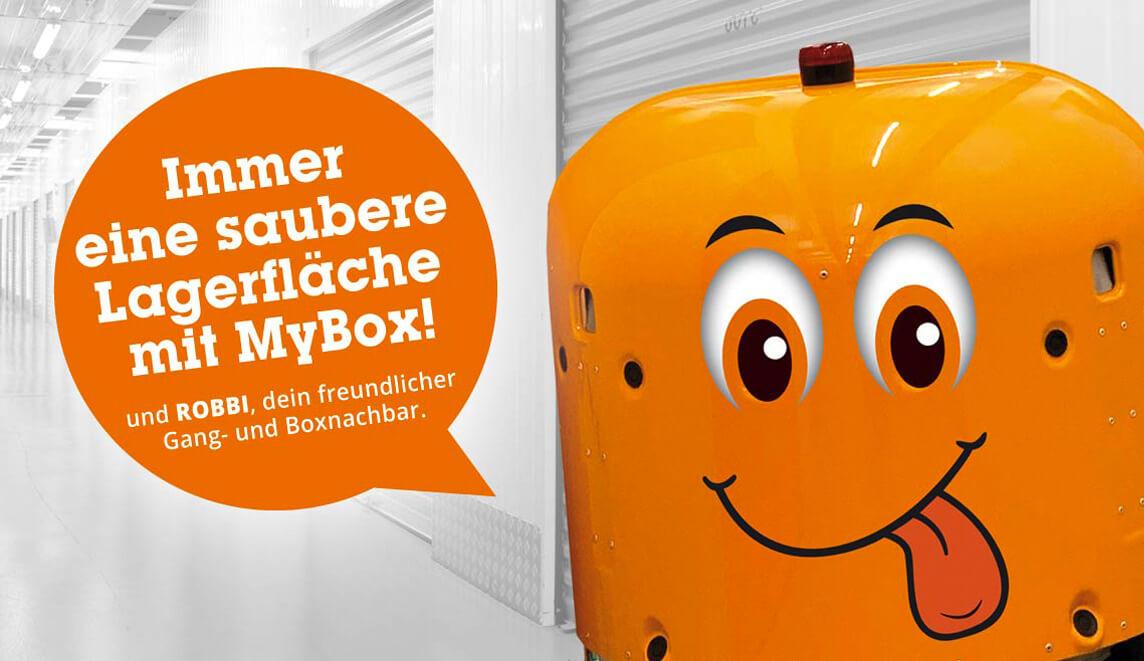 mediadesign linke portfolio - umsetzung einer Putzrobotergrafik für den Roboter in der MyBox Filiale Münster