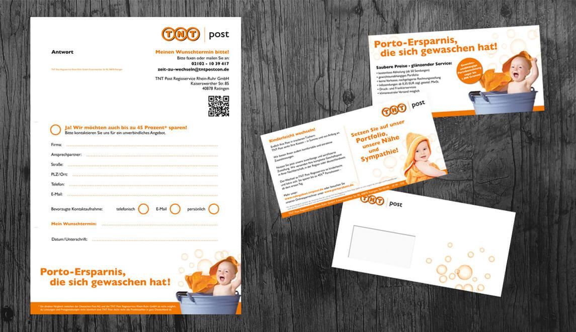 Gestaltung und Design eines Din A4-Mailings für die TNT Post sowie einem dazugehörigen Flyer in Din Lang Quer - Portoersparnis, die sich gewaschen hat