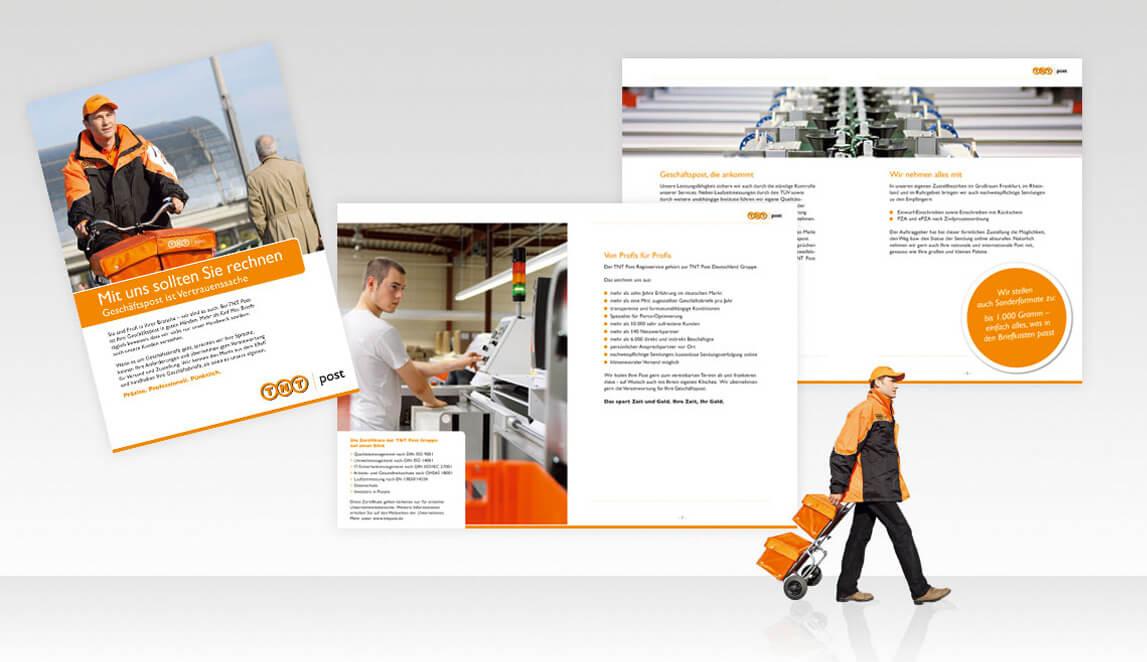 Gestaltung und Design einer mehrseitigen Broschüre im Format Din A5 für die TNT Post