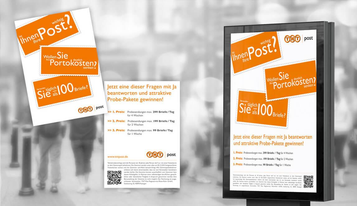 Gestaltung einer Plakatumsetzung TNT Post sowie Simulation einer Anbringung auf einem öffentlichen Plakatbereich