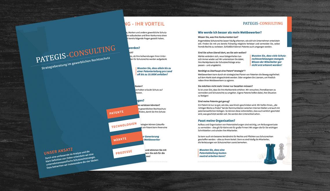 mediadesign linke portfolio - Flyergestaltung für Pategis consulting