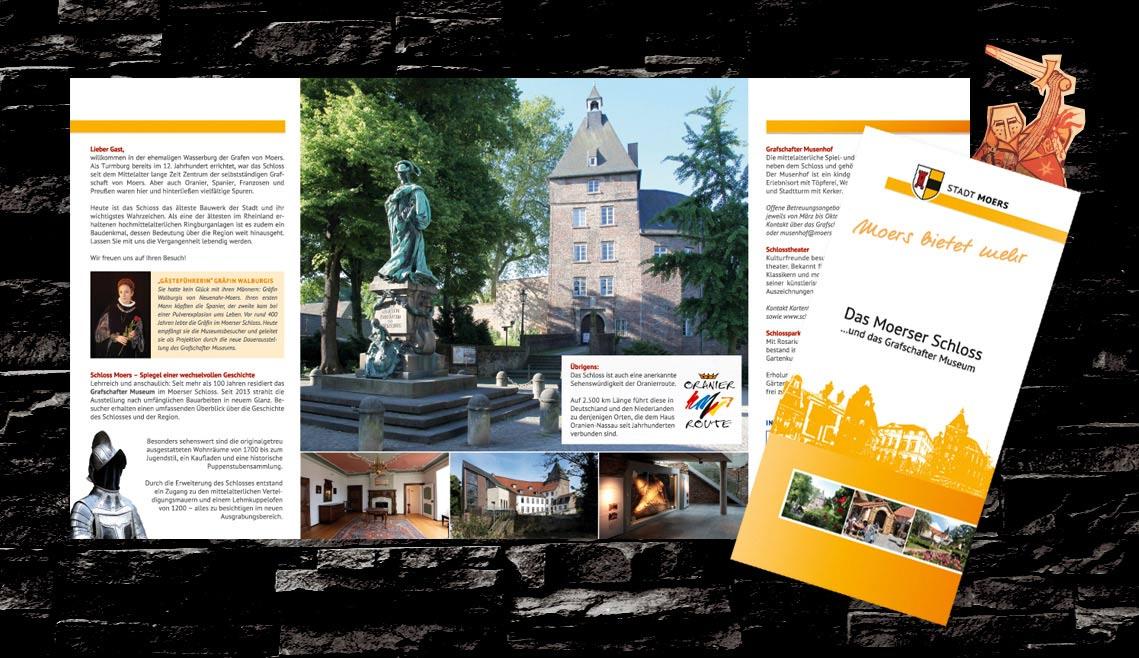 mediadesign linke portfolio - Flyergestaltung Stadt Moers - Moerser Schloss