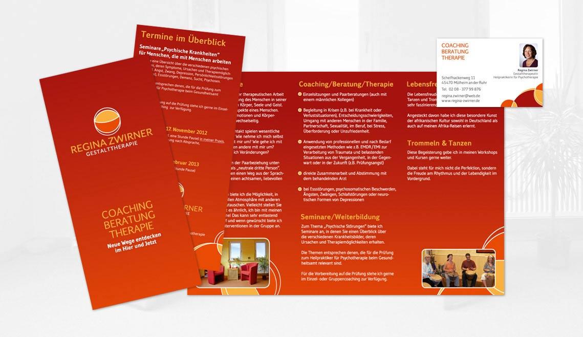 mediadesign linke portfolio - Flyergestaltung / Printmedien für die Gestalttherapie Regina Zwirner