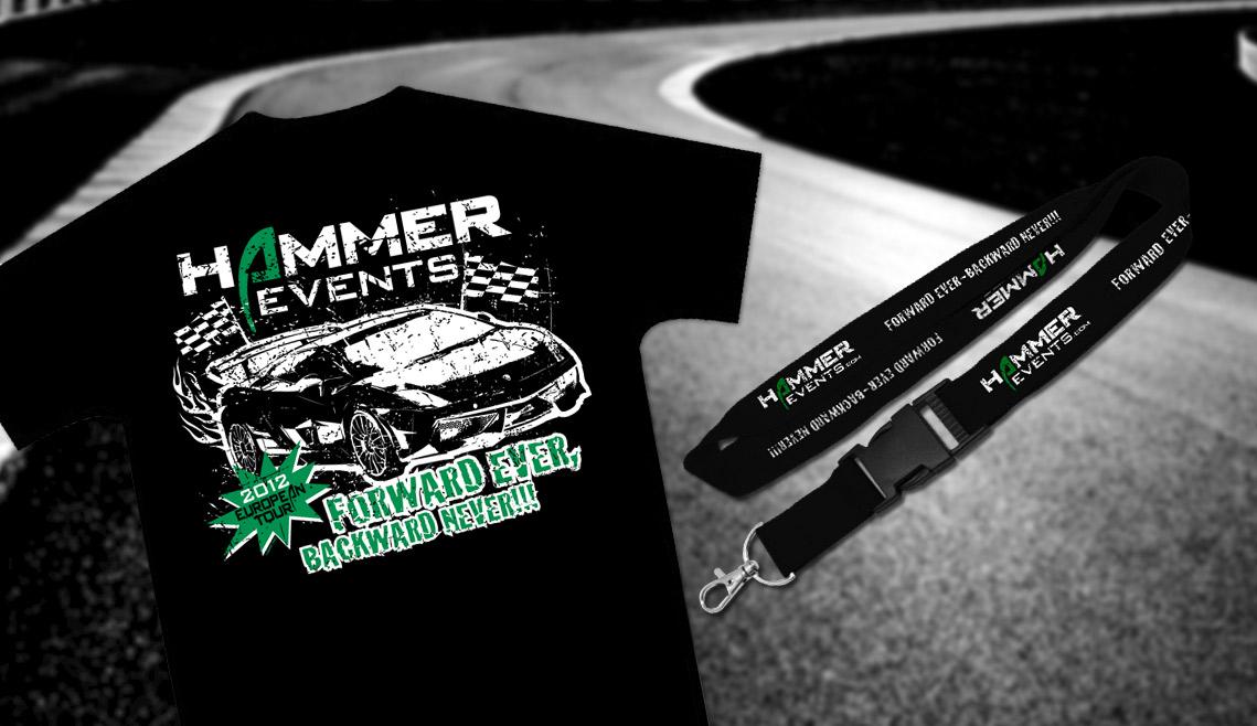 mediadesign linke portfolio - Gestaltung eines T-Shirt und Lanyard für Hammer Events