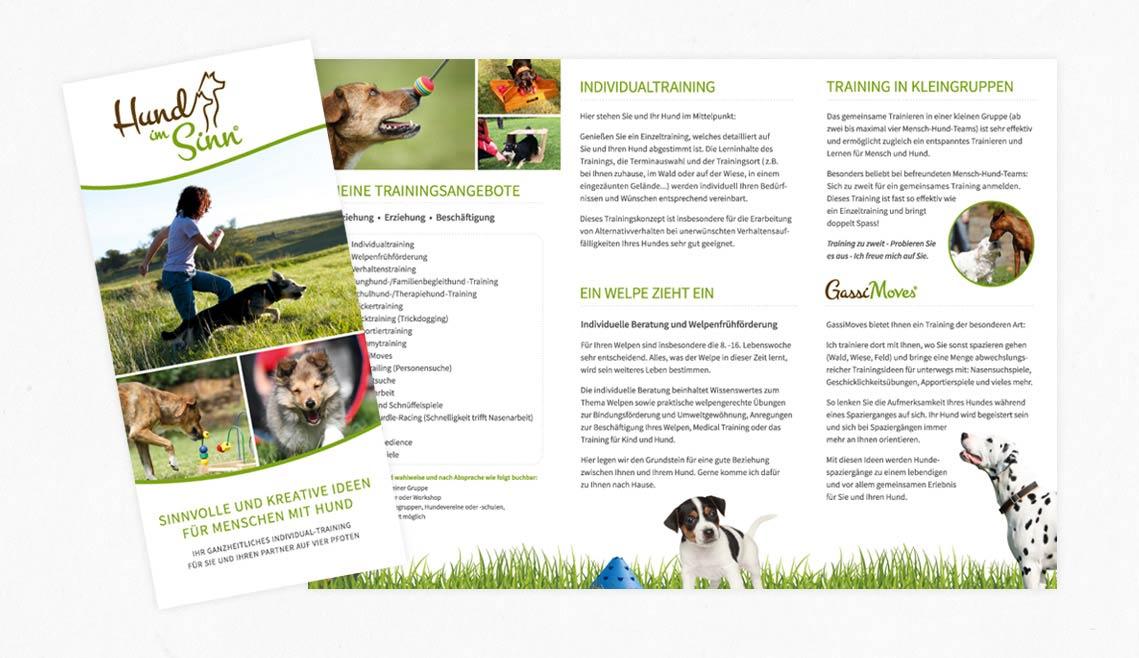 mediadesign linke portfolio - Flyergestaltung für Hund im Sinn©