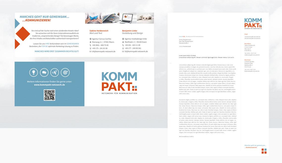mediadesign linke portfolio - Visitenkarten und Anschreiben / Briefvorlage für das Netzwerk Kommpakt