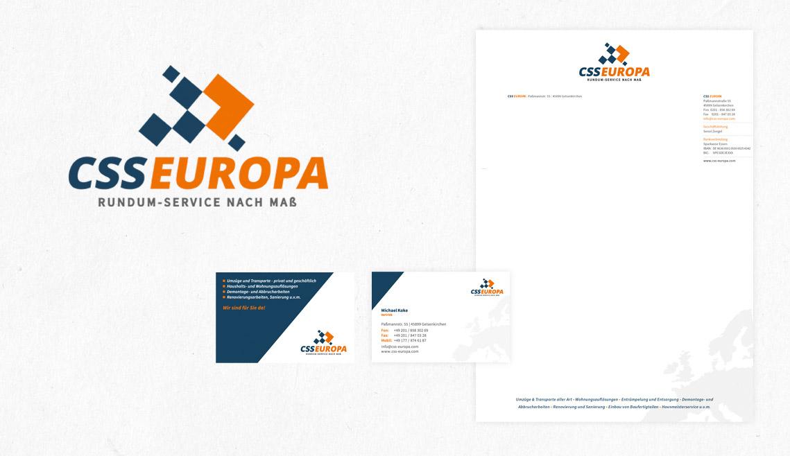 mediadesign linke portfolio - Logogestaltung / Visitenkarten und Anschreiben für CSS Europa