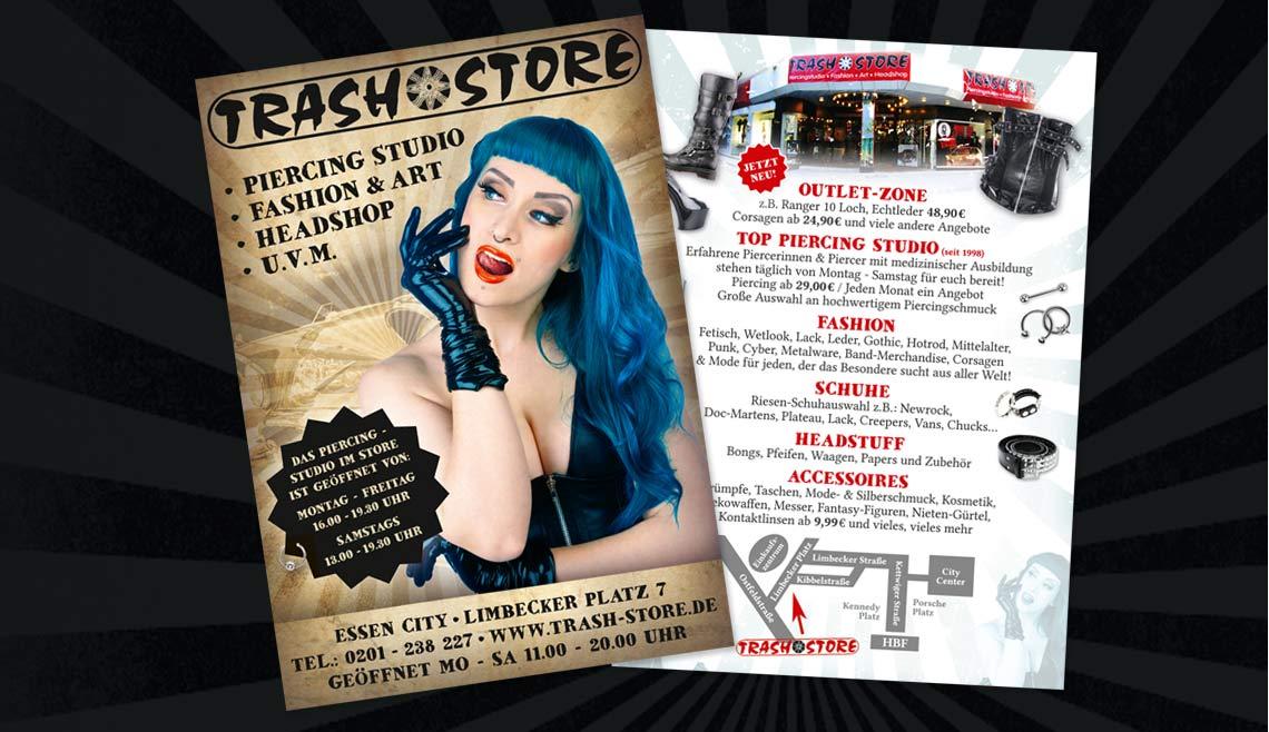 mediadesign linke portfolio - Flyergestaltung für TrashStore Essen