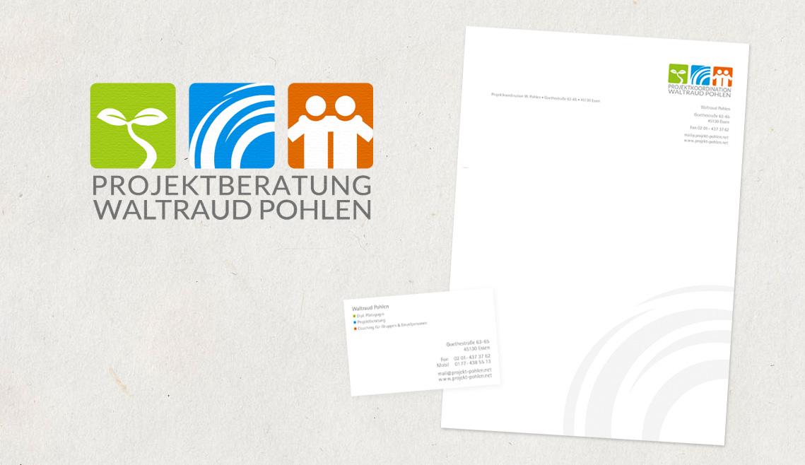 mediadesign linke portfolio - Logogestaltung / Visitenkarten und Briefbogen für Waltraud Pohlen Projektkoordination