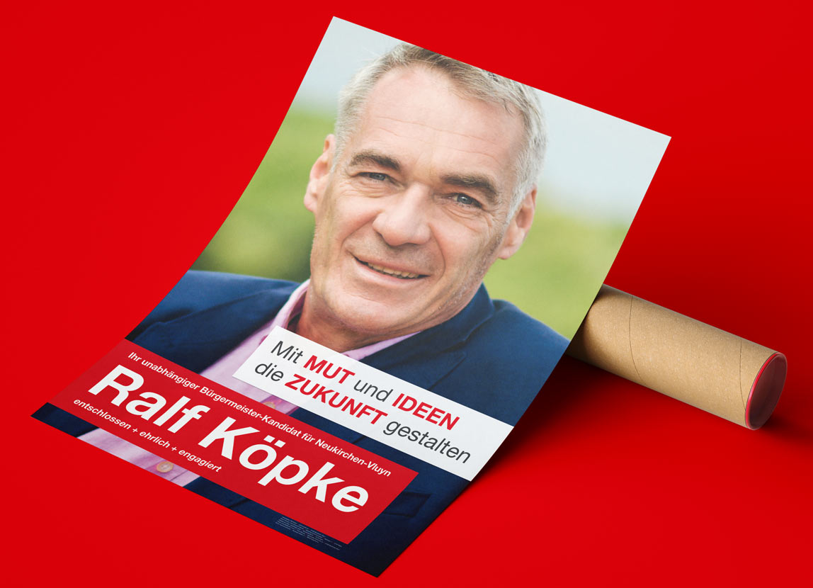 mediadesign linke & Netzwerk Kommpakt - Plakat für den unabhängigen Bürgermeisterkandidaten Ralf Köpke