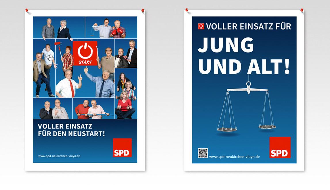 Plakatentwicklungen 2014 (Kandidatenplakate) SPD Neukirchen-Vluyn - Voller Einsatz für den Neustart - Voller Einsatz für Jung und Alt!