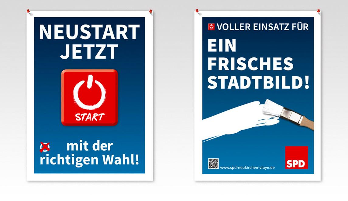 Plakatentwicklungen 2014 (Kandidatenplakate) SPD Neukirchen-Vluyn - Neustart Jetzt und Voller Einsatz für ein frisches Stadtbild
