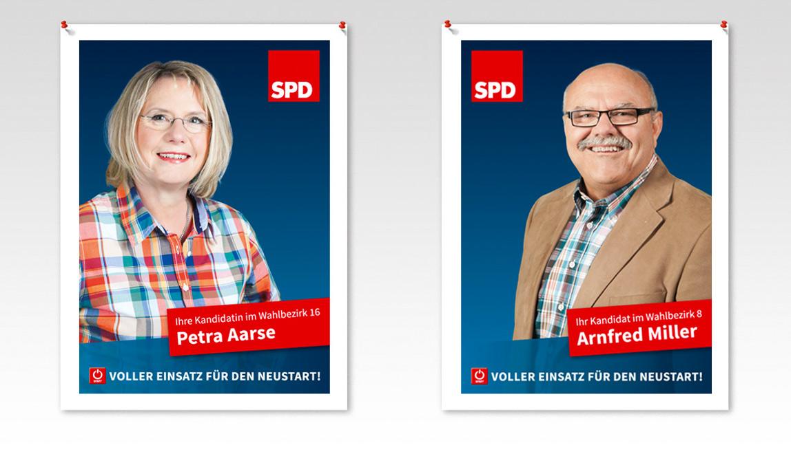 Plakatentwicklungen 2014 (Kandidatenplakate) SPD Neukirchen-Vluyn - Petra Aarse und Arnfred Miller - Voller Einsatz für den Neustart