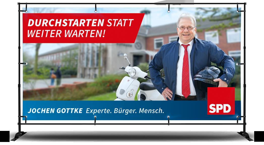 SPD Neukirchen-Vluyn Aussenbanner zur Bürgermeisterwahl 2015