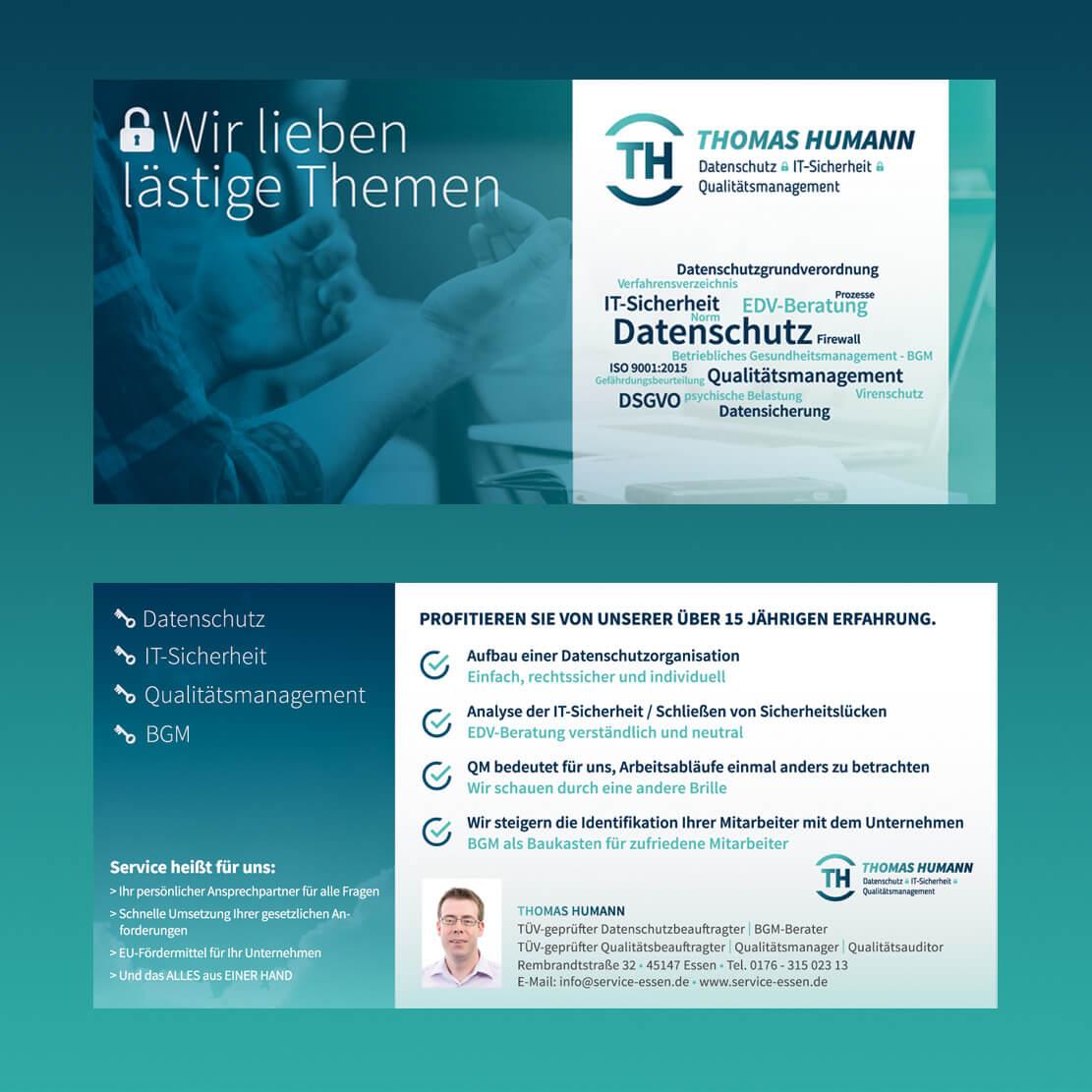 mediadesign linke portfolio - Thomas Humann Service-essen.de | Logogestaltung, Webdesign, Printmedien Gestaltung von Flyer und Visitenkarten sowie Briefbogen