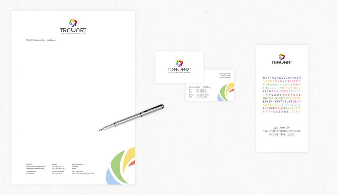mediadesign linke portfolio - trauart Trauerarbeit, Trauerbewältigung - Logoentwicklung und Corporate Design