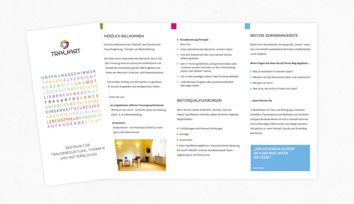 Gestaltung und Design Trauart Essen - Grundflyer Din Lang Hochformat, 6-seitig - Trauart - Zentrum für Trauerarbeit, Therapie und Weiterbildung