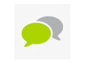 mediadesign linke - Icon mit zwei Sprechblasen symbolisieren Kommunikation, Austausch und Konzeption