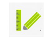 mediadesign linke - Icon mit Lineal und Stift symbolisieren Gestaltung nach Maß - vom Flyer bis zur Webseite