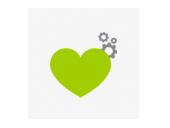 mediadesign linke - Icon mit einem Herz und Zahnräder symbolisieren die Arbeit mit Herz und Verstand sowie Ehrlichkeit und Echtheit.
