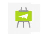 mediadesign linke - Icon mit Schautafel und steigender Linie als Symbolik für Medien, die letztlich vorallem auch wirken und ankommen