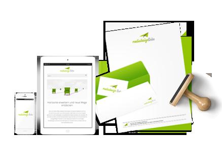 Design Leistungen / Corporate Design - vom Logo bis zur Broschüre und Website - Ansicht eines Smartphones, Tablets, Birefumschlag, Briefbogen und Stempel im Design von mediadesign linke