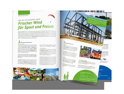 Design Leistungen Printmedien und Drucksachen von mediadesign linke - Ansicht einer Broschüre des Landschaftsparks Niederrhein