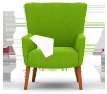 Webseite gestalten | grüner Stuhl / Sessel von mediadesign linke mit Papierflieger