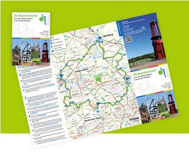 Gestaltung und Design eines Informationsfaltblatt Baumkreisroute des Landschaftspark Niederrhein, 16-seitig gefaltet