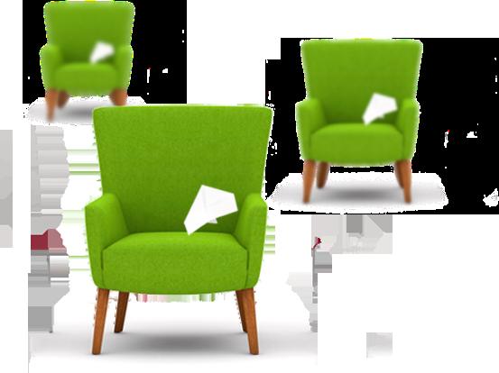 mediadesign linke - Portfolio Grafik mit 3 Stühlen und Papierflieger darauf