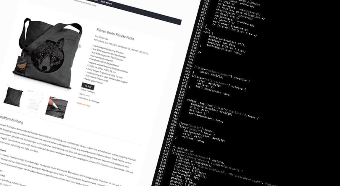 mediadesign linke - Kommabei Webshop Onlineshop Gestaltung, Styling per CSS und html