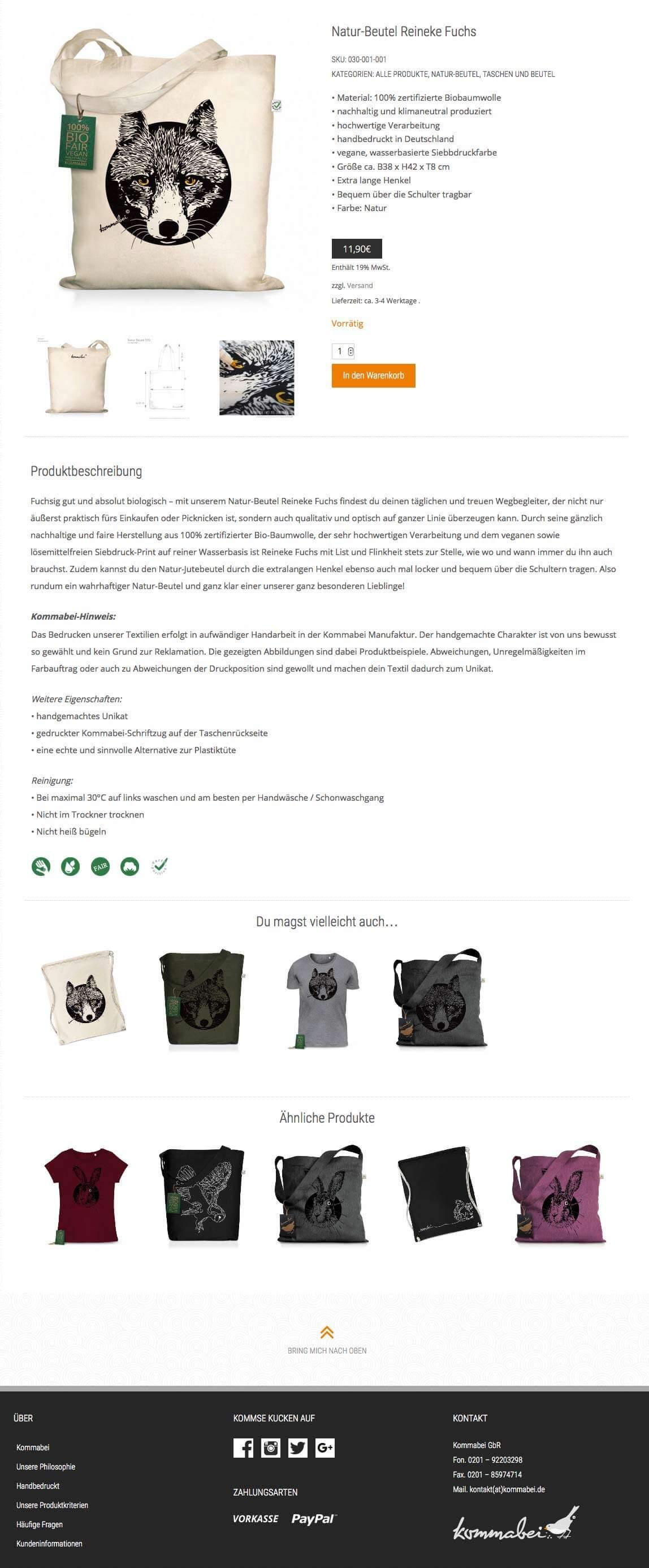 mediadesign linke - Kommabei Wording responsiver Webshop auf WordPress Basis - Produktbeschreibungen und Aufbau / Struktur