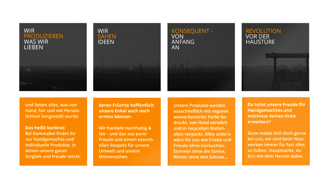 mediadesign linke - Kommabei Wording Textentwicklung der Philosophie und Unternehmensgrundsätze