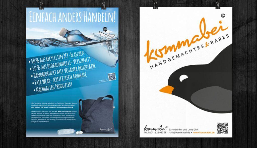 Mediadesign linke Plakate Konzeption und Entwicklung für Kommabei - www.kommabei.de