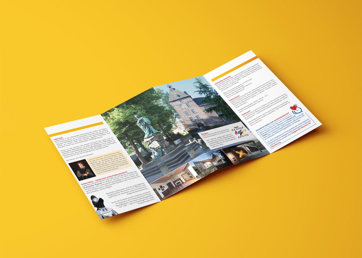 mediadesign linke - landschaftspark niederrhein wanderfolder mit 16 Seiten zum Niederrheinweg und Bergbauwanderweg