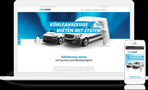 mediadesign linke webdesign - Ansicht der responsiven Webseite für Frigovans Rent - Kühlfahrzeuge nach Maß