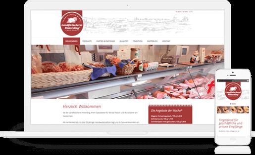 mediadesign linke Portfolio - Webdesign / Gestaltung eines neuen Internetauftritts für die Landfleischerei Hinterding in Krefeld www.landfleischerei-hinterding.de