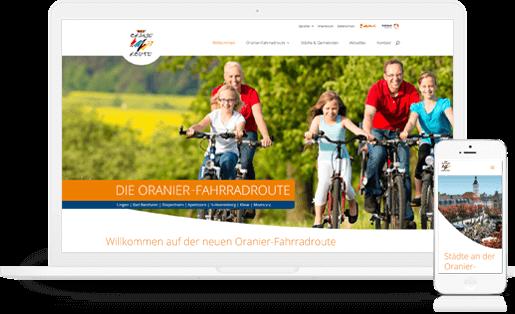 Webdesign / Webseite gestalten mit mediadesign linke in Essen - neuer Webauftritt für die Oranierfahrradroute zwischen Apeldoorn und Moers