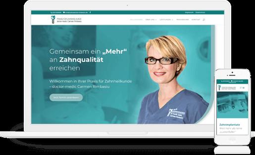 Webdesign / Webseite gestalten mit mediadesign linke in Essen - Zahnärztin Carmen Rimbasiu in Essen Kray