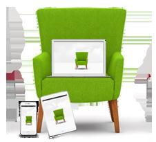 Webseite gestalten | grüner Stuhl / Sessel von mediadesign linkemit Tablet und Laptop