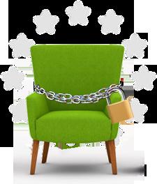 Webseite gestalten | grüner Stuhl / Sessel von mediadesign linke mit Kette und Sicherheitsschloss