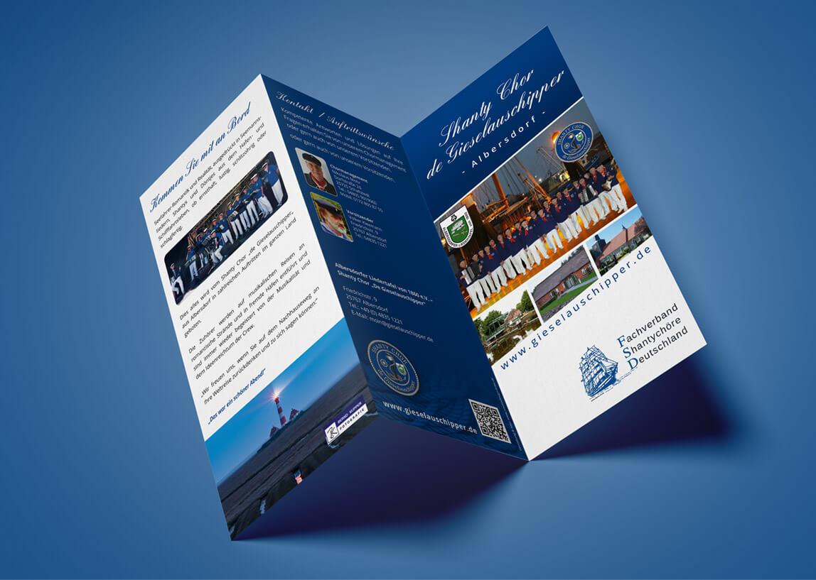 mediadesign linke - Gestaltung Flyer Din Lang 6-seitig für den Shanty Chor Giselauschipper aus Albersdorf
