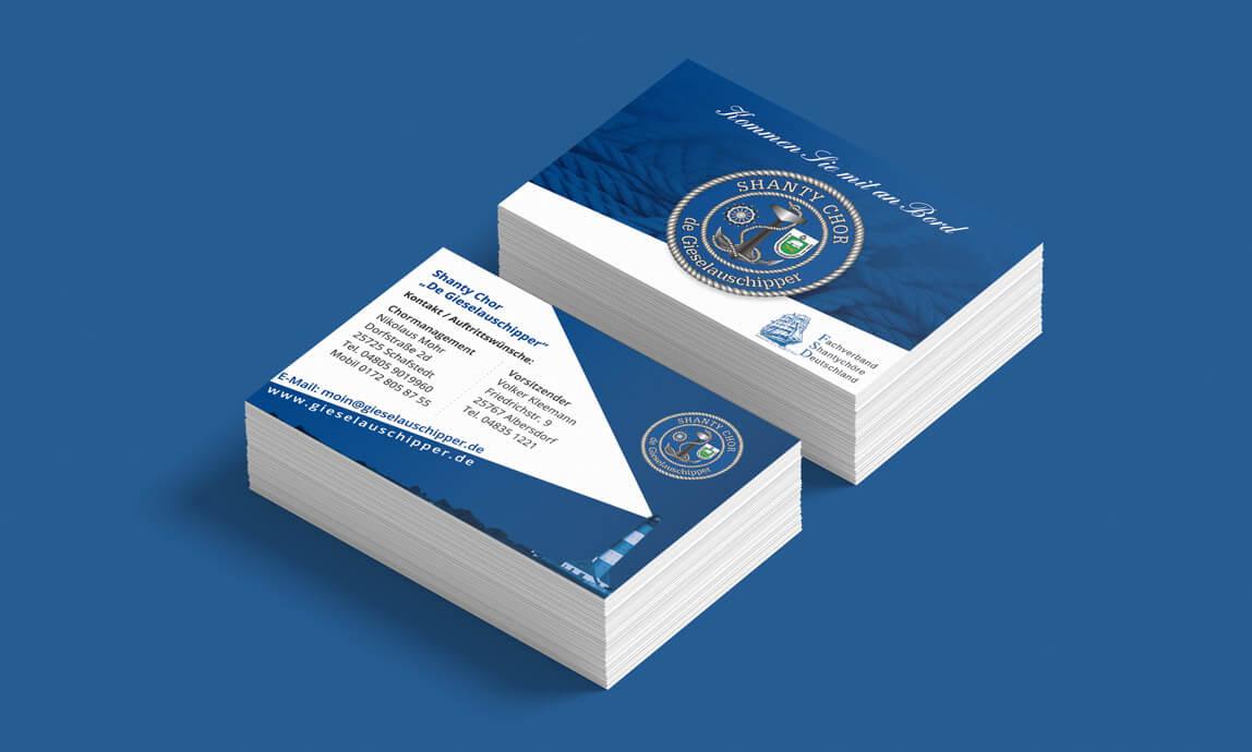 mediadesign linke - Gestaltung Visitenkarten für den Shanty Chor Giselauschipper aus Albersdorf